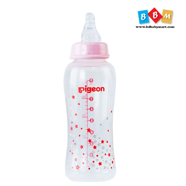 Pigeon Flexible peristaltic nipple clear pp bottle 250ml pink