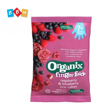 Organix finger foods respberry & blueberry rice cakes