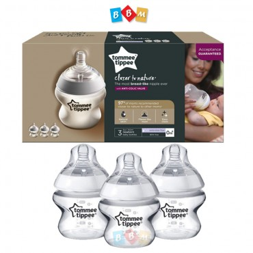 Tommee Tippee Closer to Nature  Baby Bottle, Anti-Colic Valve, Breast-like Nipple for Natural Latch,