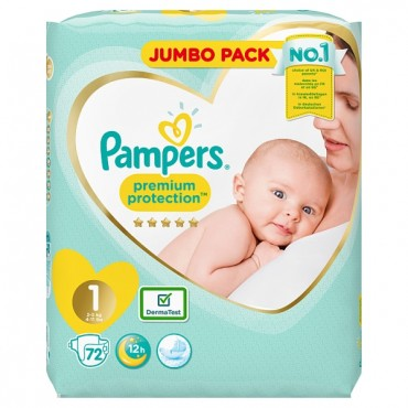 Pampers premium protection jumbo 1   72 Pcs