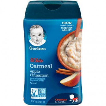 Gerber Lil Bits Oatmeal Apple Cinnamon 8+