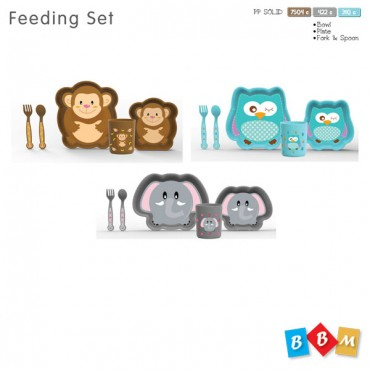 LION FEEDING SET LARGE FORK, SPOON, CUP & BOWL SET 5 PCS GIFT BOX