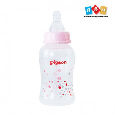 Pigeon Flexible peristaltic nipple clear pp bottle 150ml pink